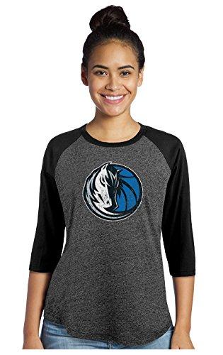 fan products of NBA Dallas Mavericks Women's Premium Triblend 3/4 Sleeve Raglan, Medium, Black