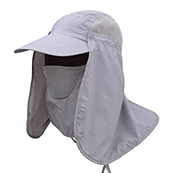 187d0d1176f Enkrio Unisex Fishing Hat Flap Hats UPF 50+ 360 Degree Solar Protection Sun  Cap with Removable Neck Face Flap Cover Caps for Outdoor Activities for Men  ...