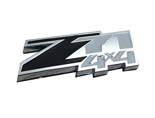 2pcs Black Color 3D z71 4x4 Chevrolet Silverado Emblem Badge ABS Logo Sticker For Chevy Silverado Sierra (Fender Grill)