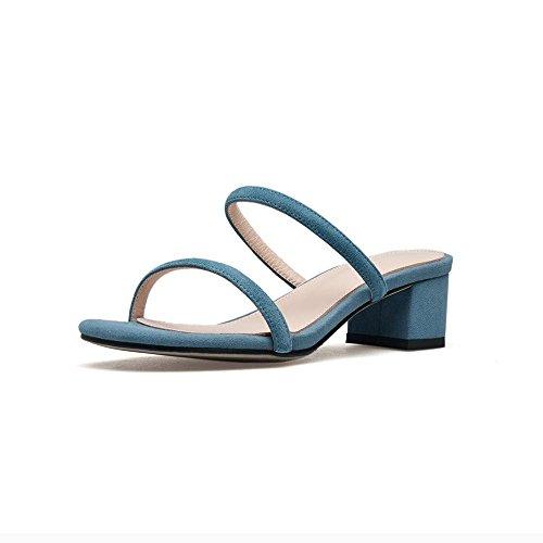 GJDE Mujer Tacón Robusto Talón de bloque Zapatos del Club Sandalias Vestido Fiesta y Noche PU Zapatos de Ocio Jeans Blue