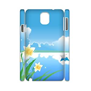 3D Samsung Galaxy Note 3 Cases, Girl Design Paper Boat Vector Cases for Samsung Galaxy Note 3 {White}
