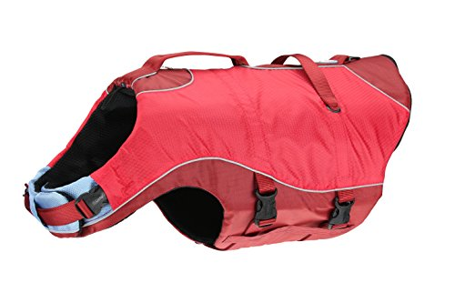 Kurgo Surf N Turf Dog Life Jacket - Adjustable with Reflective Trim, Medium, Red
