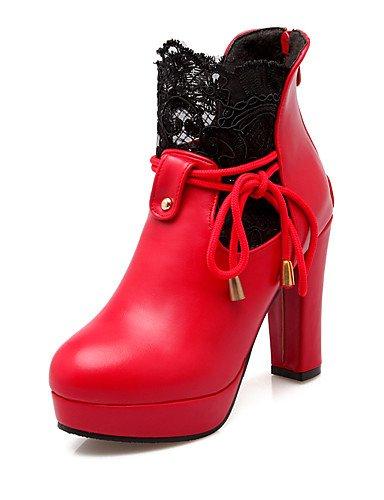 XZZ  Damenschuhe-Stiefel-Kleid   Lässig   Party & & & Festivität-Spitze   Kunstleder-Blockabsatz-Rundeschuh   Modische Stiefel-Schwarz   Rot   Weiß ec6561