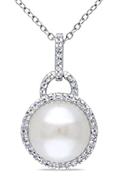 Sterling Silver 11.5-12.0 mm White Freshwater Pearl and White Topaz Pendant 18''