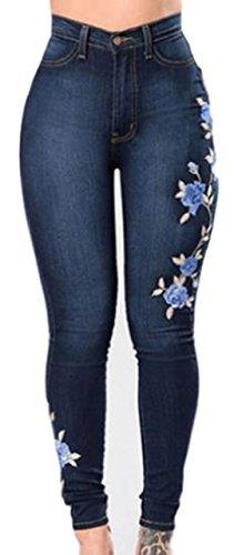 MyuRupi Women's Denim Skinny Jeans Rose Embroidered Stretch with Pocket (Large)
