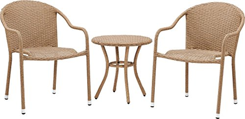 Crosley Furniture Palm Harbor 3-Piece Outdoor Wicker Cafe Seating Set - Light Brown