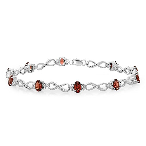 (Sterling Silver Real Oval Cut Genuine Garnet & Round White Diamond Ladies Link Bracelet)