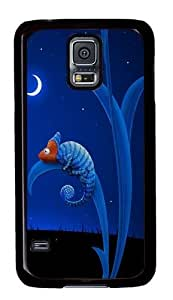 Rugged Samsung Galaxy S5 Case and Cover - Blue Chameleon Custom Design PC Case Cover for Samsung Galaxy S5 - Black
