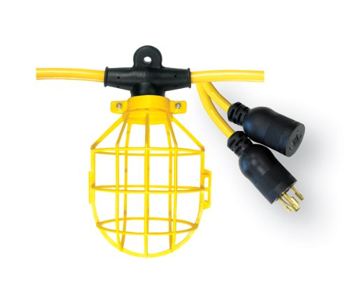 Voltec 08-00192 12/3 SJTW 10-Light Plastic Cage Light String with Locking Connector, 100-Foot, Yellow