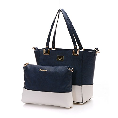 Leather Tote Bag for Women Large Shoulder Bag with Small Crossbody Purse Blue