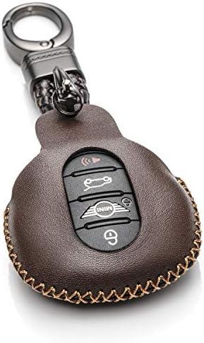 [해외]Vitodeco 천연 가죽 스마트 키 포브 케이스 커버 프로텍터 가죽 키 체인 미니 쿠퍼 2015-2019 미니 쿠퍼 클럽맨 2015-2019 / Vitodeco Genuine Leather Smart Key Fob Case Cover ProtectorLeather Key Chain for Mini Cooper 2015-2019, Mini Coope...