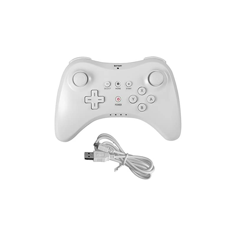 Poulep Wireless Controller Compatible with Nintendo Wii U Pro Console - Bluetooth Gamepad Joystick Dual Analog with USB Charging Cable(White)