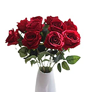 MARJON FlowersArtificial Flowers,Fake Flowers Bouquet Silk Roses Real Touch Bridal Wedding Bouquet for Home Garden Party Floral Decor 10 Pcs (Red) 96