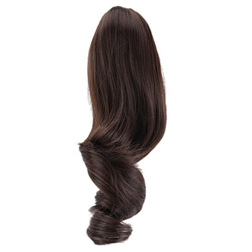 Womens Dark Brown Wavy Curly Ponytail Claw Clip-on Hair Extension Synthetic Hairpiece 91g