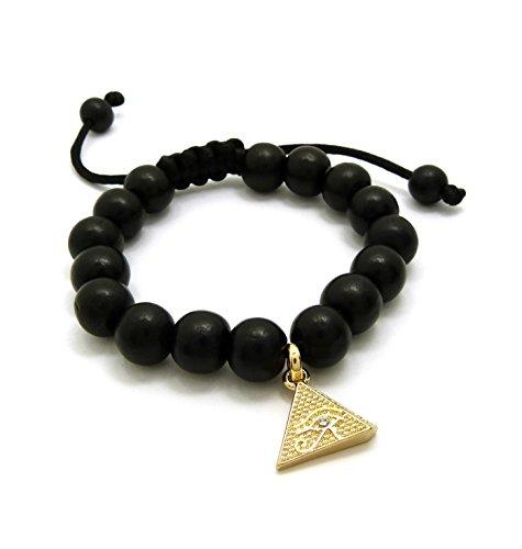 (Fashion 21 Egypt Eye of Heru in Pyramid Charm Adjustable 12mm Wooden Bead Bracelet in Black Tone (Pyramid Bracelet - Black))