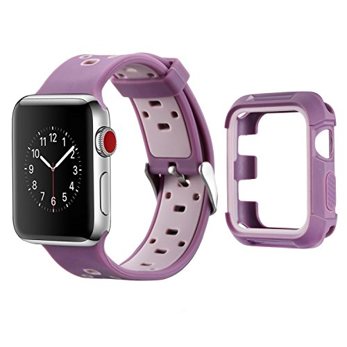 Compatible Apple Watch Band with Case 38mm, MAIRUI Silicone Breathable Replacement with Rugged Bumper Protective Case for Apple Watch Series 3/2/1, iWatch Sport/Edition/Nike+ (Purple)