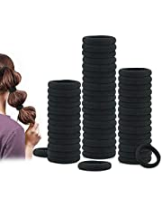 50 Pack Dreamlover Black Hair Ties Seamless Thick Cotton Hair Rubber Bands Ponytail Holders for Women Girls Kids Men