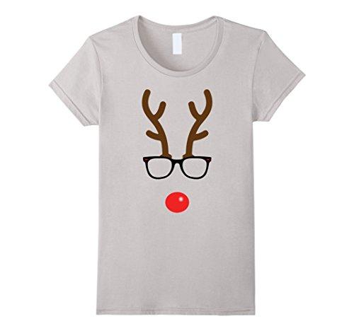 Women's Rudolph The Red Nose Reindeer Nerd Geek Christmas T-Shirt XL Silver (Cute Girl Nerd Costumes Halloween)
