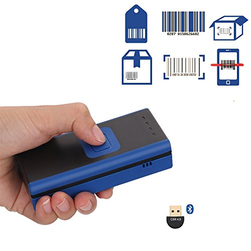 Unideeply Wireless Mini Barcode Scanner, Bluetooth 4.0 Portable Barcode Reader, Support Tablet/Smartphone/PC Connection, Read 1D Barcodes on Mobile Devices