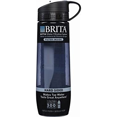 Brita 23.7 Ounce Hard Sided Water Bottle with 1 Filter, BPA Free, Grey