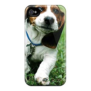 New Premium Flip Case Cover Funny Dog Basset Hound Skin Case For Iphone 4/4s