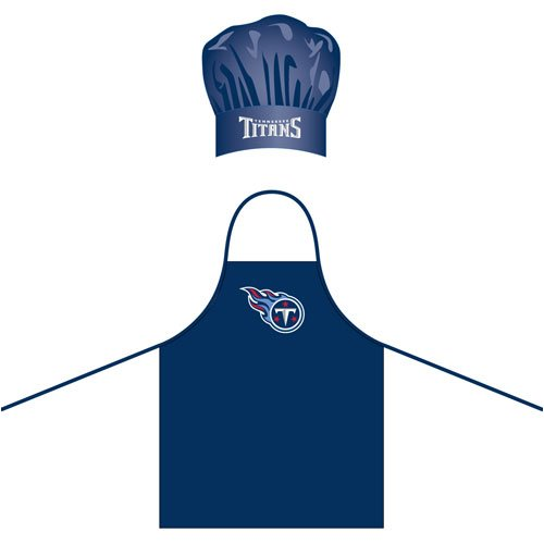 Pro Specialties Group Tennessee Titans Men's Apron & Chef Hat Barbecue BBQ Cooking Grilling - Logo Apron Bbq