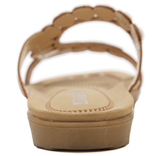 Fortuning's JDS Deslizadores planos de la sandalia plana rebordeada Diamante de imitación de la manera de la mujer Beige