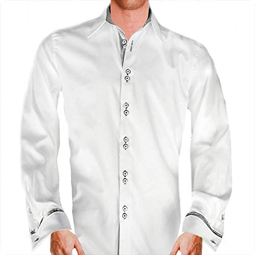 Mens White with Silver French Cuff Dress Shirts - Made in the USA