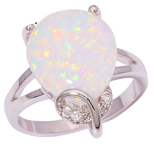 PSRINGS White Fire Opal Cubic Zirconia Silver Plated Ring New Jewelry Ring 9.0 (Alex Toys Water Bottle)