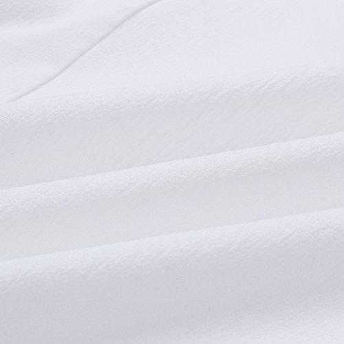 Chemises Haute Manches Mousselinesoie lgante Longues V Blouse Jahurto White Dentelle Col Femmes px7wnqU