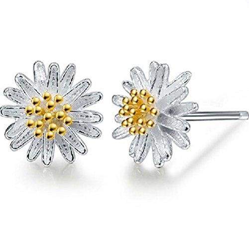 Price comparison product image Winter's Secret Fashion Girl Lovely Little Golden Flower Holy Daisy Silver Stud Earring