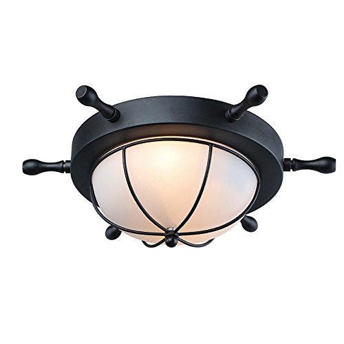 Baiwaiz Flush Mount Ceiling Light, 2-Light Metal Rudder Antique Ceiling Light Fixture with White Dome Frosted Glass Shade Vintage Ceiling Lamp for Kids Bedroom Black finish Edison E26 BW17021 (Light Flush Retro Two)