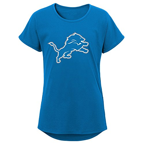NFL Detroit Lions Youth Girls Primary Logo Short Sleeve Dolman Tee Lion Blue, Youth Medium(10-12) ()