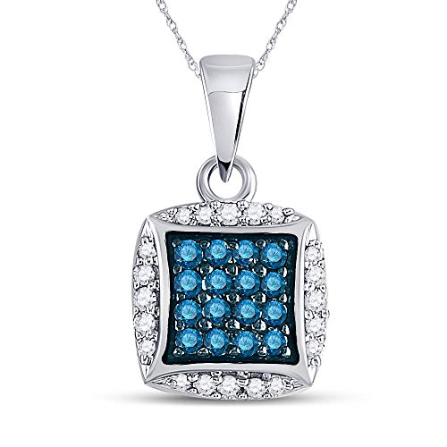 Dazzlingrock Collection 10kt White Gold Womens Round Blue Color Enhanced Diamond Square Pendant 1/4 Cttw