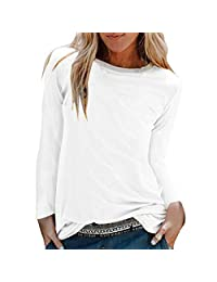 Minikoad_Women Coat Clearance Sale Women O-Neck Long Sleeve T-Shirt Blouse Tops ❀ Ladies Solid Shirts Loose Long Tunic Tops