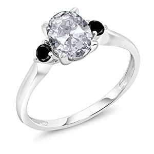 1.43 Ct Oval White Topaz Black Diamond 10K White Gold Ring