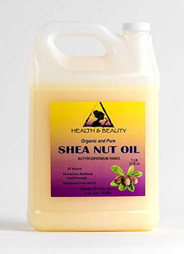 Shea Nut Oil Organic African Karite Oil Carrier Cold Pressed Premium Fresh 100% Pure 128 oz, 7 LB, 1 gal