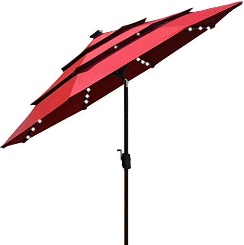 EliteShade Sunbrella Solar 9ft 3 Tiers Market Umbrella