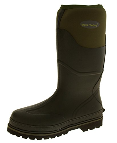 Wyre Valley Mens Trent Dark Green Hardwearing Waterproof Wellington Boots US (Waterproof Wellington Pull)