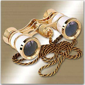 LaScala Optics Carmen Opera Glasses White/Gold by Adorama