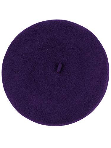 NYFASHION101 French Style Lightweight Casual Classic Solid Color Wool Beret, Eggplant ()