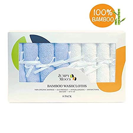 Organic Baby Washcloth (8-Pack) | 100% Bamboo, Hypoallergenic, Highly Absorbent, Antibacterial & Natural UV Protectant | Perfect Gift For Baby Shower, Newborn Girls & Boys | Soft & Delicate Fabric | 500 GSM | 10 x 10 In (Blue & White) Jumpy Moo' s