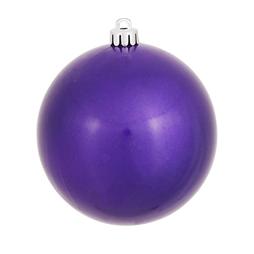 Vickerman Candy Finish Seamless Shatterproof Christmas Ball Ornament, UV Resistant with Drilled Cap, 12 per Bag, 3'', Purple by Vickerman