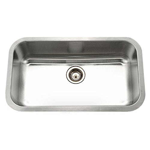 (Houzer STL-3600 Eston Series Undermount Single Bowl Kitchen Sink T-304 Stainless Steel)