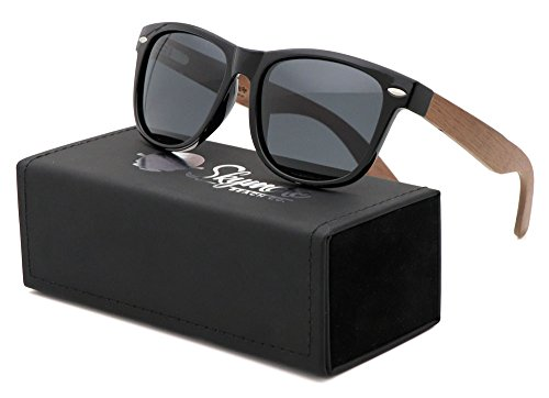 Polarized Walnut Wood Wayfarer Sunglasses Set | Black Lenses| Full Frame | Spring Hinges | Handmade | Carrying Case | Cleaning Cloth | Pouch | by Skymore Beach - Frames Crystal Walnut