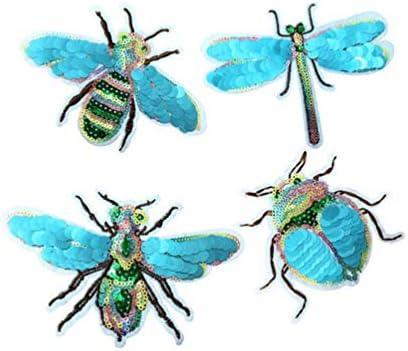 Hongma 4枚はいり アイロンワッペン パッチ 刺繍 スパンコール ミツバチ 蜻蜓 昆虫 ブルー 接着剤あり 可愛い アップ