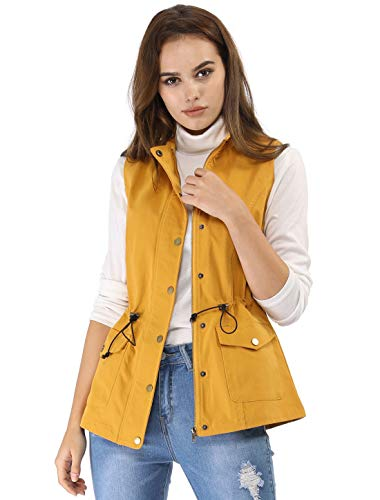 (Allegra K Women's Drawstring Snap Button Zipper Sleeveless Utility Lightweight Anorak Vest with Pockets XL Yellow)