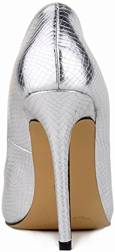 Salabobo Womens Sexy Pointed Toe Stiletto Superhigh Wedding Work All Match PU Pumps Siver KCdTj7l