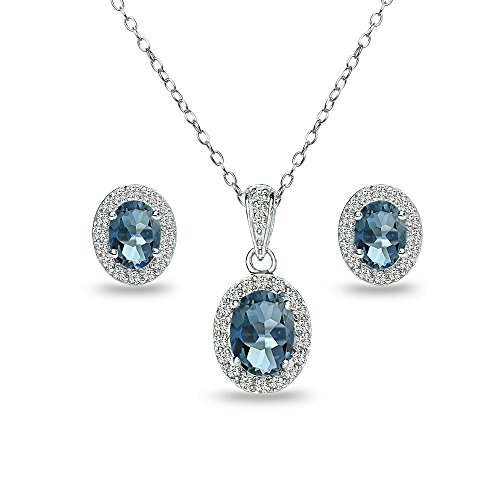 (GemStar USA Sterling Silver London Blue Topaz and White Topaz Oval Halo Necklace and Stud Earrings Set)