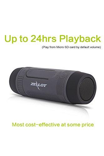 Outdoor Speakers Portable Bluetooth Bicycle Speaker Zealot S1 4000mAh Power Bank Waterproof Speakers with Full Outdoor Accessories(Bike Mount, Carabiner...)(Gray)